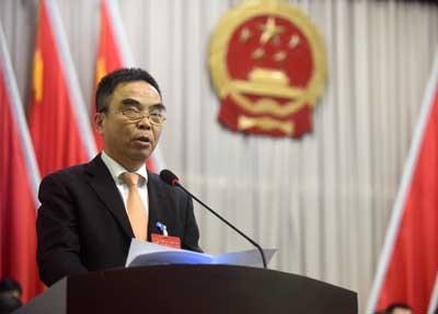 区人大常委会副主任、代表议案审查委员会主任黄俊敏作关于代表提出议案的处理意见的报告