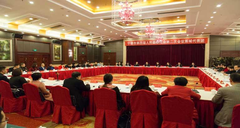 隋军参加蕉城代表团讨论审议大会报告